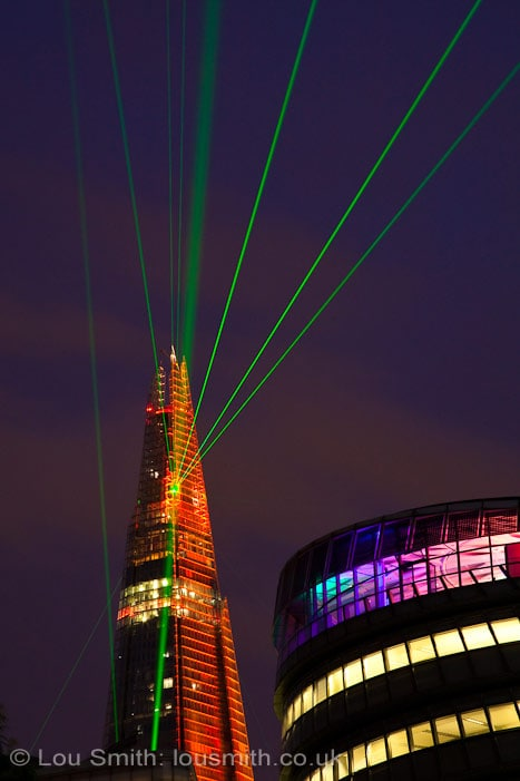 Shard London. Shard Celebrates Opening with Laser Light Show