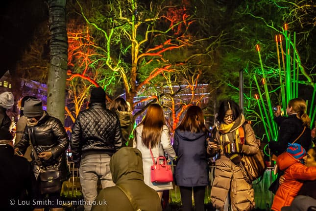 People Crowd Round the Railings to see the Garden of Light